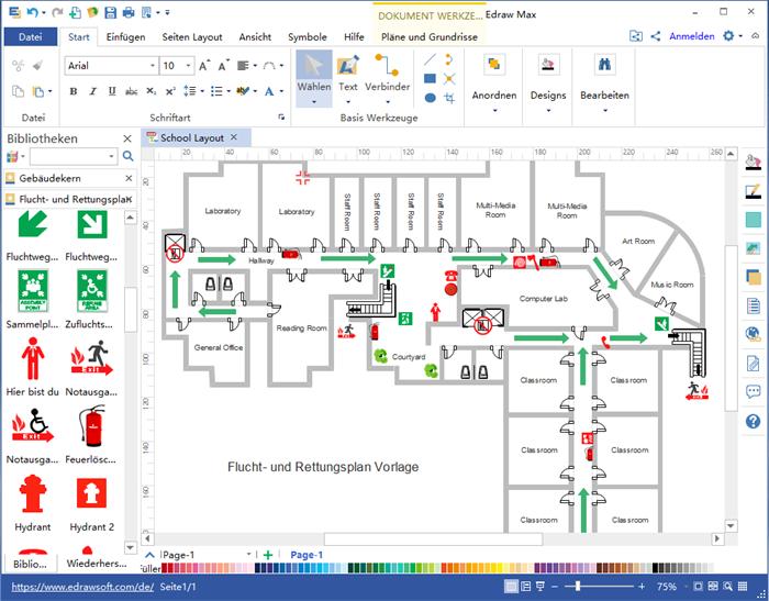 Flucht und Rettungsplan Software Planer, Grundriss und
