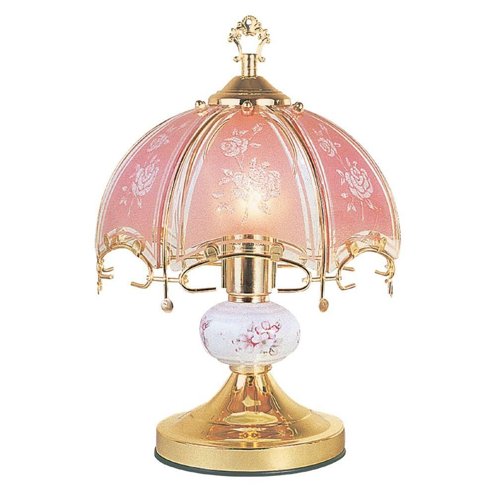 Ore International 14 In Floral Brushed Gold And Pink Touch Lamp K312 The Home Depot Touch Table Lamps Touch Lamp Lamp