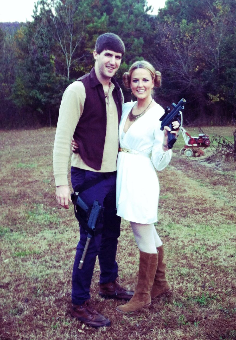 easy peasy Han Solo u0026 Princess Leia costumes...white dress sock buns paintball guns and a goodwill vest  sc 1 st  Pinterest : princess leia han solo costumes  - Germanpascual.Com