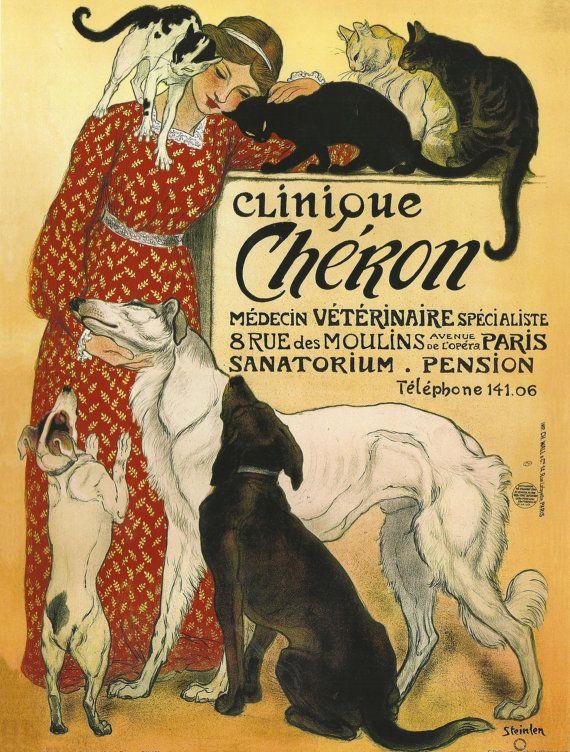Antique French Advertising Print Dog And Cat Art Nouveau Clinique Cheron 9 00 Via Etsy Art Nouveau Poster Vintage French Posters Poster Art