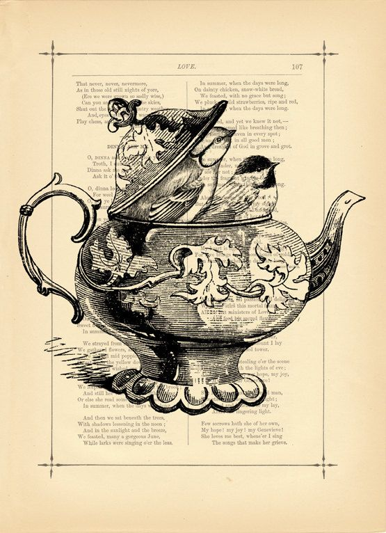 Art Print Victorian Shabby Chic French Birds Teapot