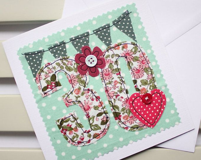 30th Birthday Card Machine Embroidered Handmade Greetings Card