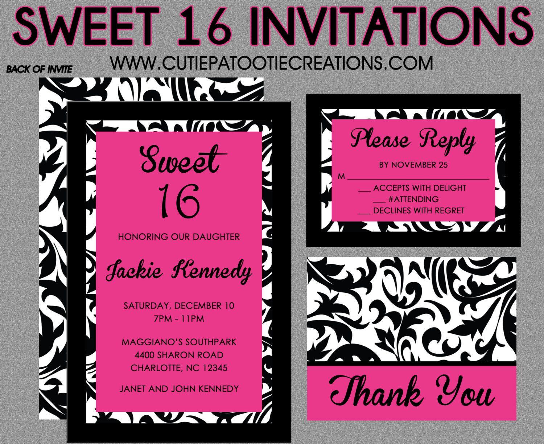 Sweet 16 birthday invitations quinceanera invitation black sweet 16 birthday invitations quinceanera invitation black white hot pink damask sweet sixteen stopboris Gallery