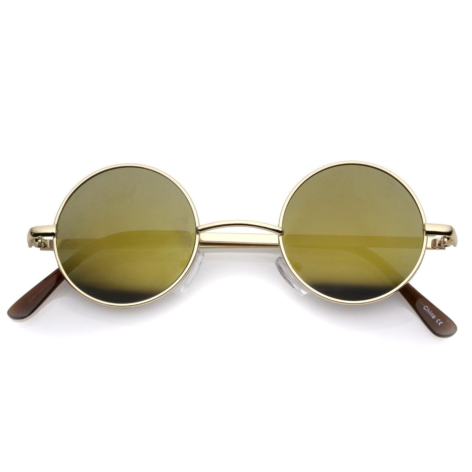 f840d4e9522 Small Retro Lennon Inspired Style Colored Mirror Lens Round Metal Sunglasses  41mm