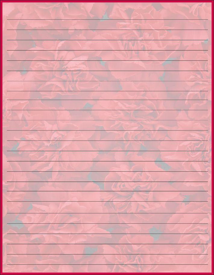 motheru0027s day stationery Free printable Motheru0027s day carnation - line paper background