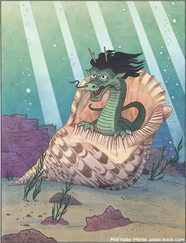 Shussebora Japanese Myth A Giant Triton Conch Thst Has Lived 3