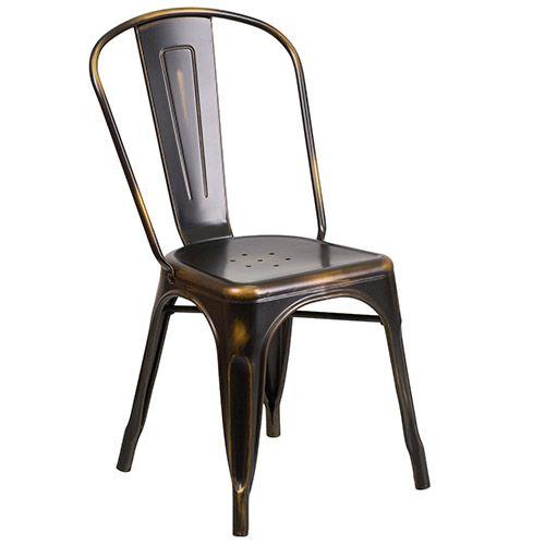 Flash Furniture ET 3534 COP GG Distressed Metal Indoor Stack Chair
