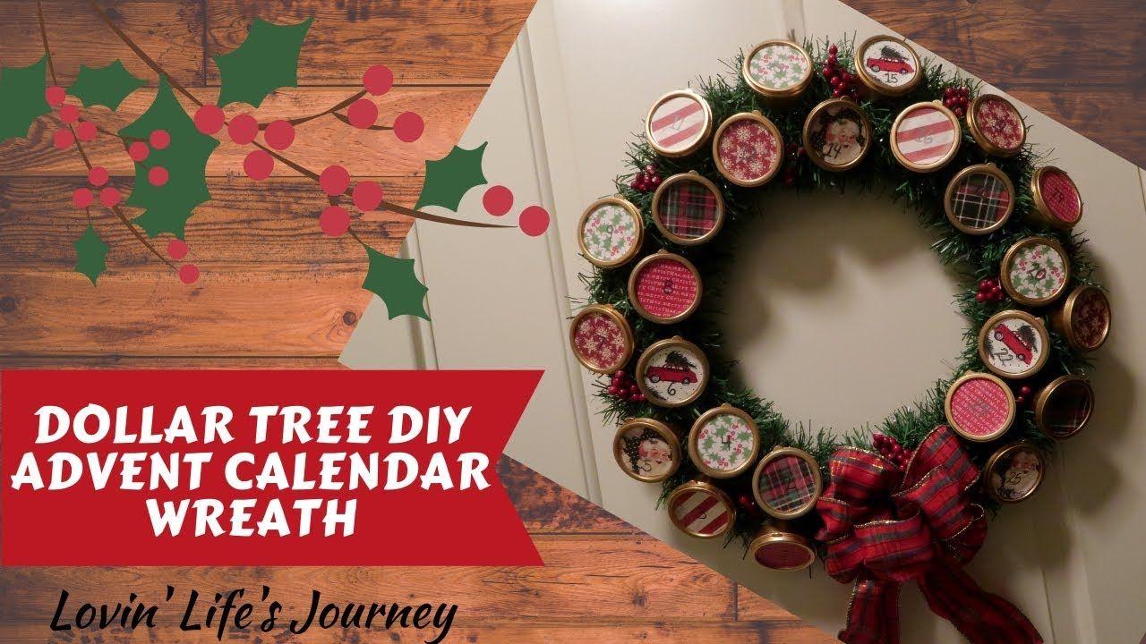 Dollar Tree DIY Advent Calendar Wreath Christmas