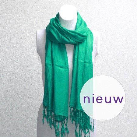 Smaragdgroene effen pashmina sjaal - AUkO sjaals