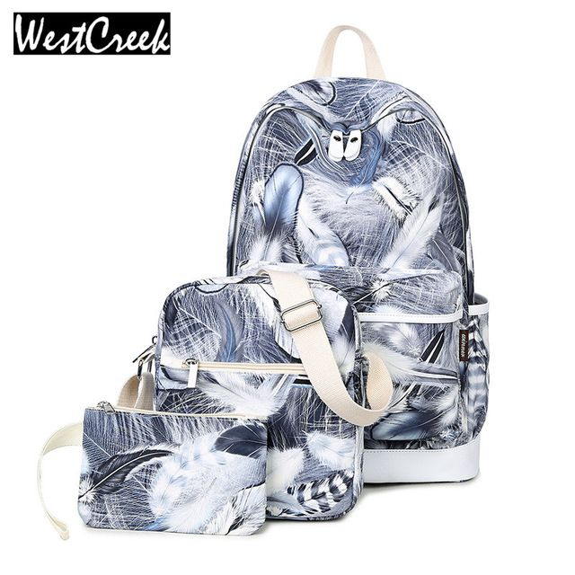 2deac913c3c Bag · Good price Westcreek Brand Set Canvas Backpack Feathers Printing  Backbag School Bags for Teenage Girls Laptop. School BackpacksWomen s ...