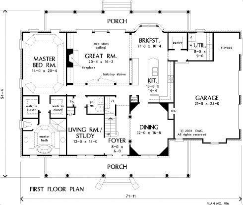 Two Story 4 Bedroom The Hickory Ridge Farmhouse with Bonus Room Floor Plan