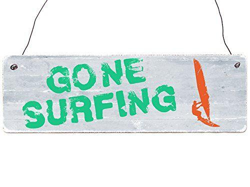 Holzschild Shabby Vintage Retro GONE SURFING Strand See Meer Geschenk Surfer