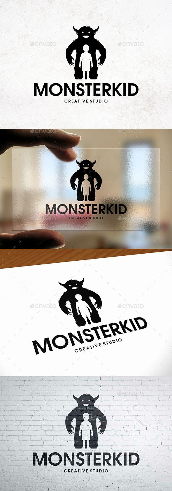 Monster Kid Logo Template | Identidad visual, Tarjetas de ...