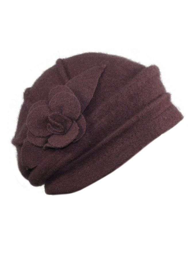 59f0f10b9 Dahlia Women's Elegant Flower Wool Cloche Bucket Slouch Hat - Red at ...