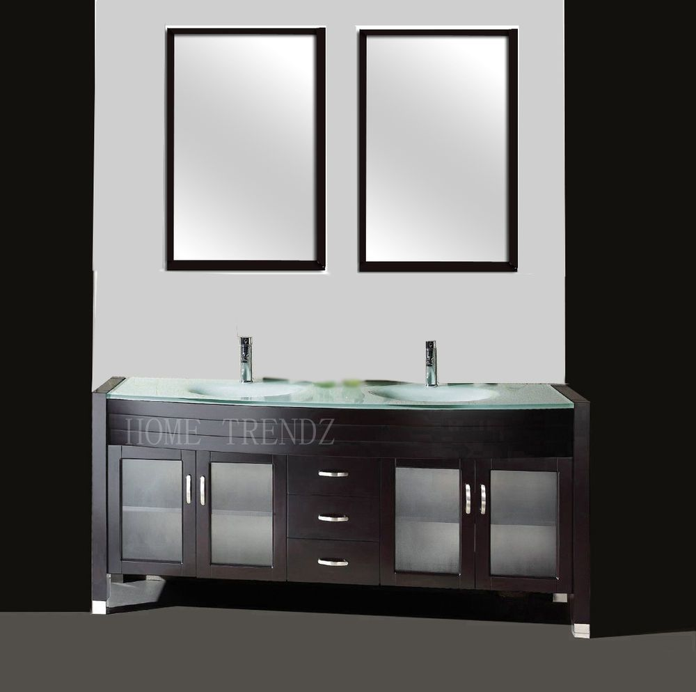 Ebay Bathroom Vanity Cabinets -  1 015 20 ebay 63 inch double sink bathroom vanity cabinet espresso with mirror faucets 20c