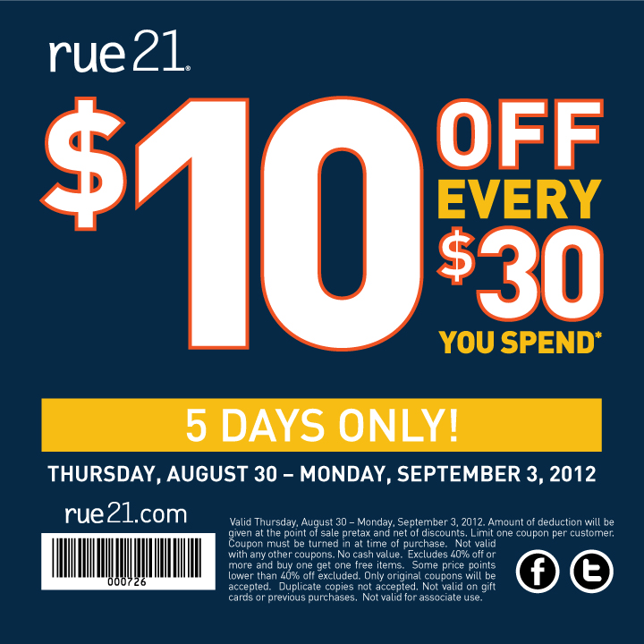graphic about Rue 21 Printable Coupons named $10 off each $30 at rue21 coupon as a result of The Coupon codes Application The