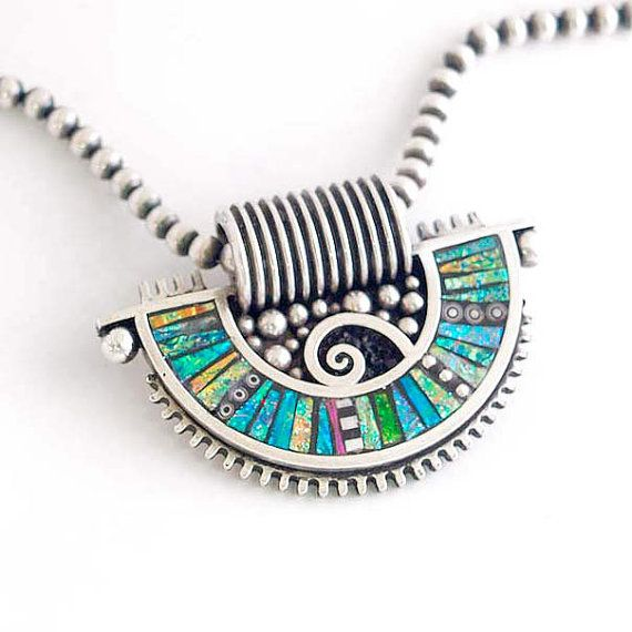 Silver Fan Shaped Pendant with Iridescent Mosaic by LizardsJewelry, $365.00