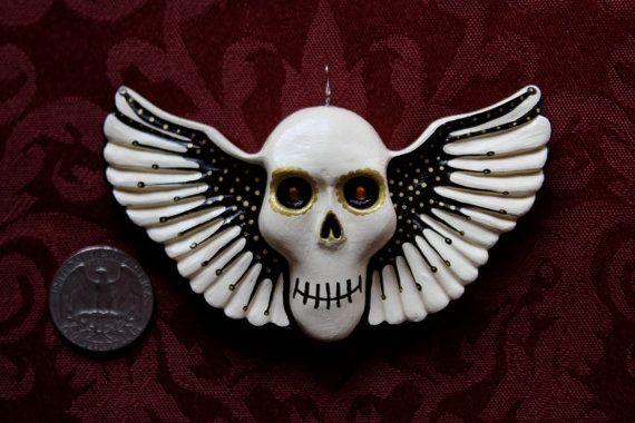 Mr Splatz Skull Ornament Artsy Skull Winged by MusidoraCreations, $26.00