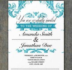 free tiffany blue damask wedding invitation template 3 party