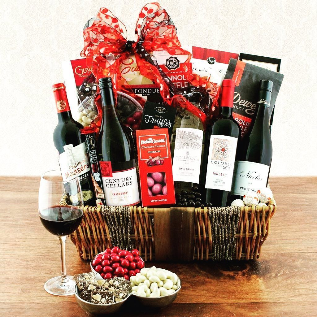 Around The World Quintet Fine Wine Gift Basket This Wine Gift Basket Contains Five Wonderf In 2020 Wine Gift Baskets Delicious Fruit White Chocolate Cranberry Cookies