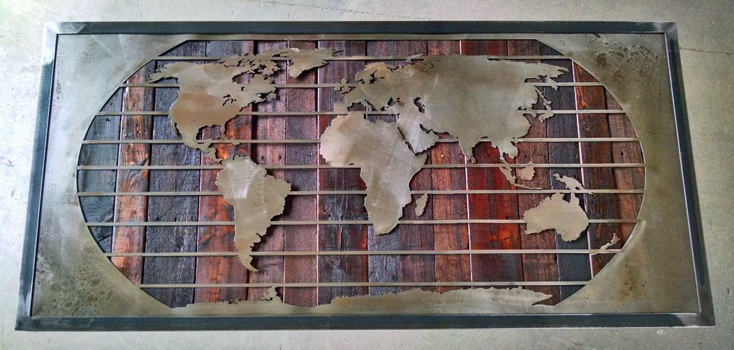 Mural Sculptures World Map Wall Art Framed Reclaimed Wood Metal Corporate Color Chart Dark Stained Great