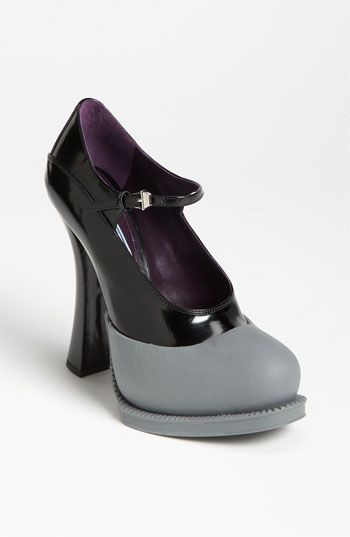 25beb9b95a10 Prada Mary Jane Pump in Gray (grey  black) - Lyst