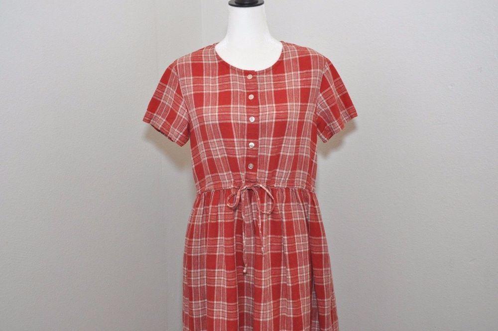 Vtg Eddie Bauer Linen Farm Dress 90's Grunge Red Plaid Sz Petite S Button Down #EddieBauer #MaxiButtonDown #Casual