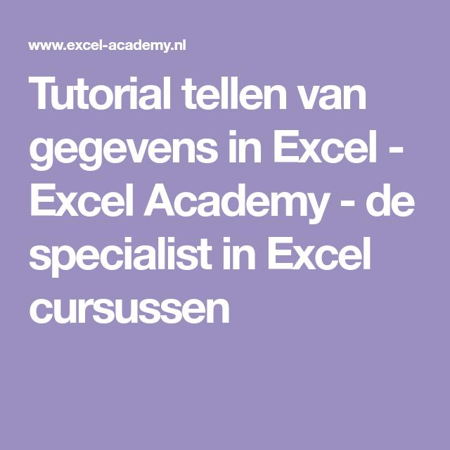 Tutorial tellen van gegevens in Excel - Excel Academy - de ...