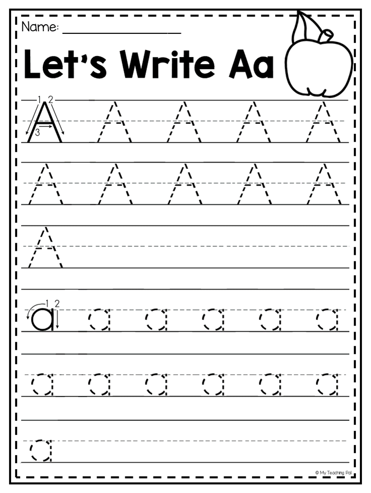 Letter A Handwriting Practice Worksheet. Students Are Given The  Opportunity… Alphabet Worksheets, Letter Worksheets For Preschool,  Handwriting Practice Worksheets