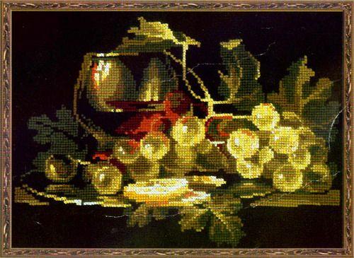 Бесплатная схема вышивки крестом виноград
