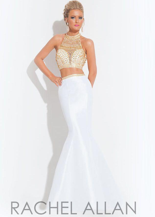 Rachel Allan 6870 White/Gold Two Piece Taffeta Sparkly Mermaid Gown ...