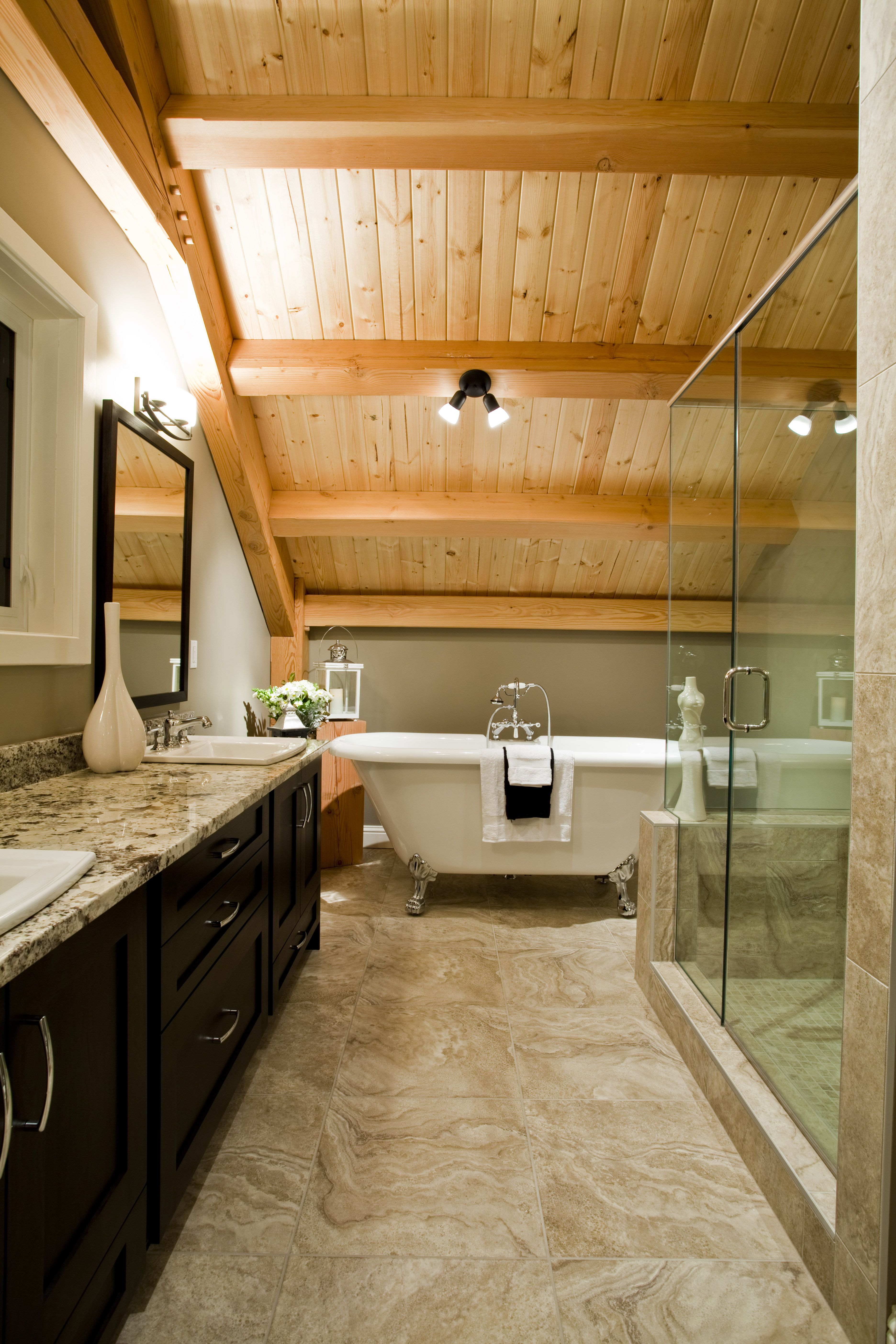 Ensuite Bathroom And Shower master ensuite bath with clawfoot tub and walk-in glass shower