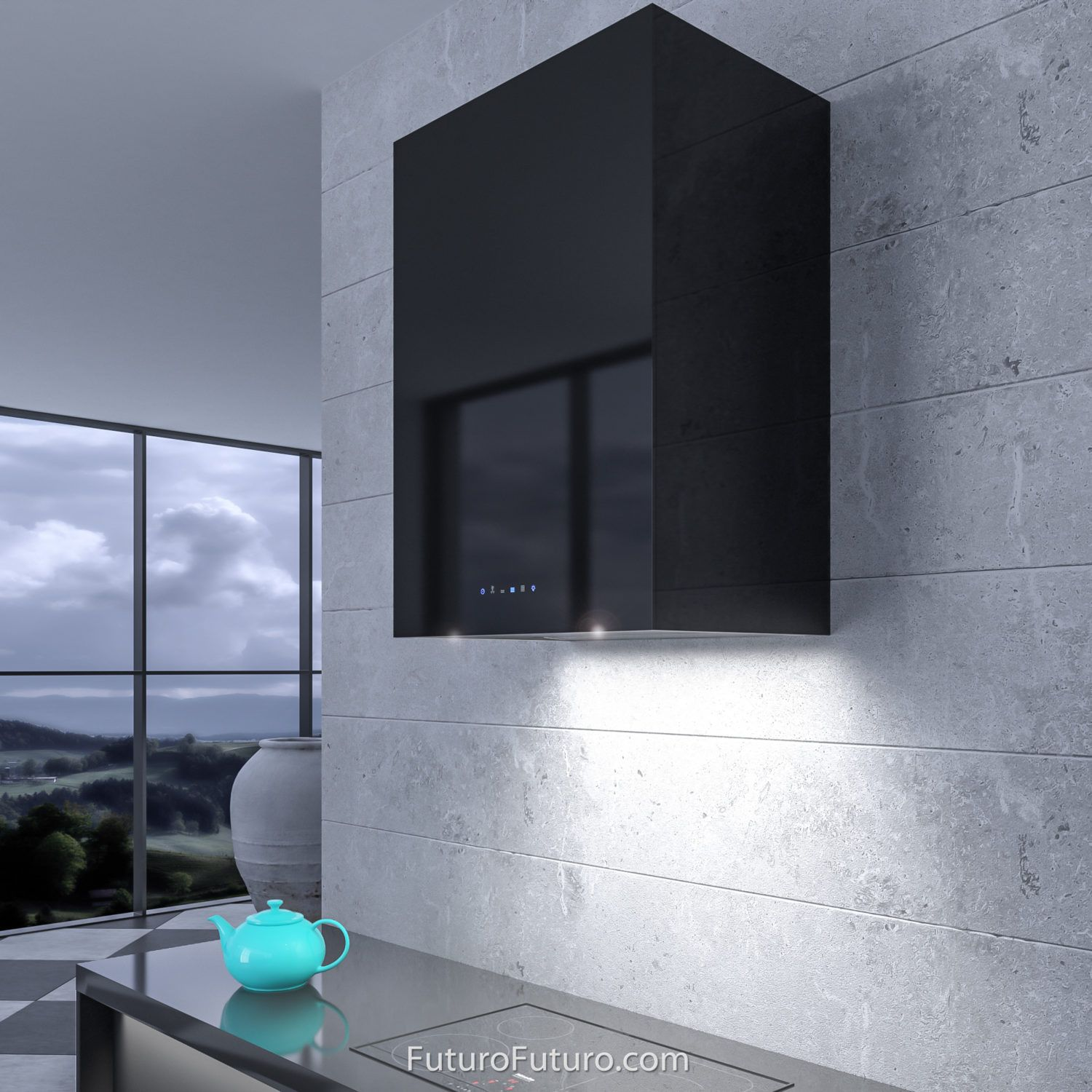 24 Lombardy Black Wall The Lombardy Series Range Hoods From Italian Manufacturer Futuro Futuro Are A Modern Kitchen Designer S Black Walls Range Hood Lombardy