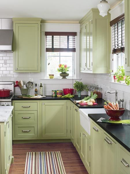 Room At The Top For A Classic American Foursquare Green Kitchen Cabinets Kitchen Cabinet Colors Kitchen Renovation