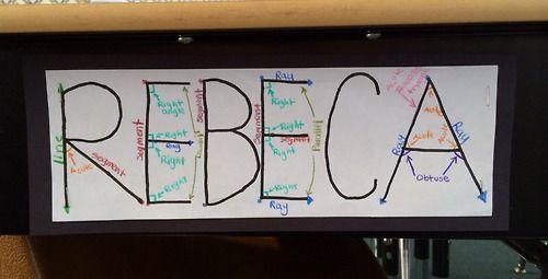Students find all the geometry in their names  Great idea