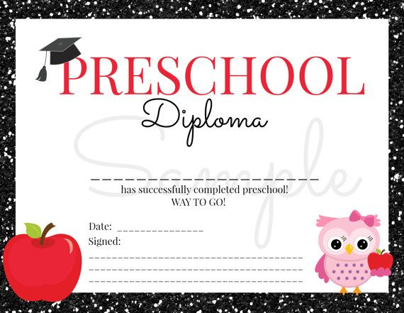 INSTANT Download Preschool GRADUATION Diploma for Girl Certificate - new printable sport certificates