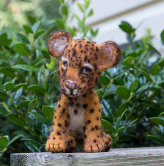 Needle Felted Animal Leopard Cub Sculpture by WoolSculptures