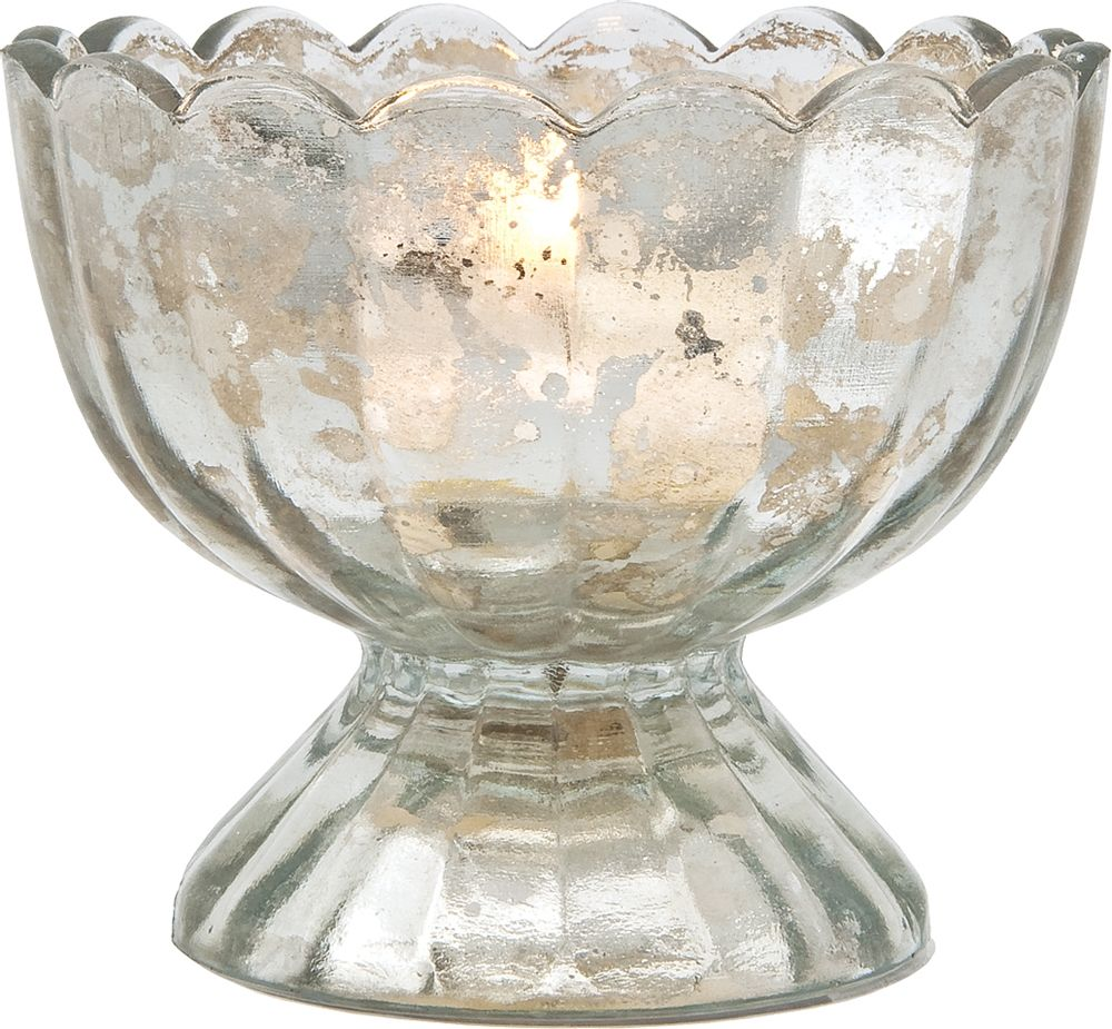 Sundae cup design mercury glass tea light candle holder silver