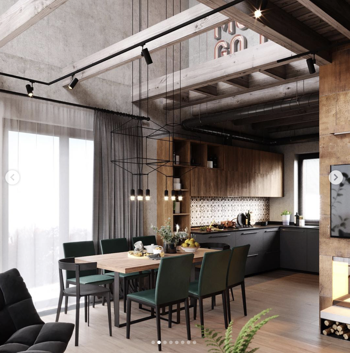 Living Interior Industrial Home Design Loft Design Modern Loft #warm #industrial #living #room