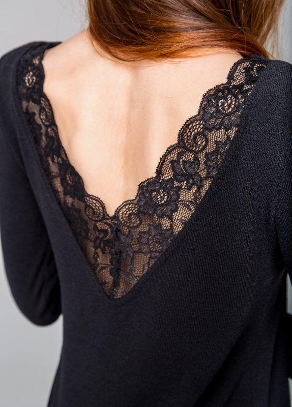 612bae2e1f1 Платье с открытой спиной и кружевом из ангоры черного цвета в 2019 г ...