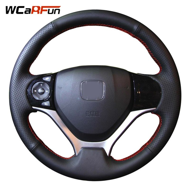 Wcarfun Black Artificial Leather Car Steering Wheel Cover For Honda Civic Civic 9 2012 2013 2014 2015 Honda Civic Steering Wheel Cover Car Steering Wheel Cover