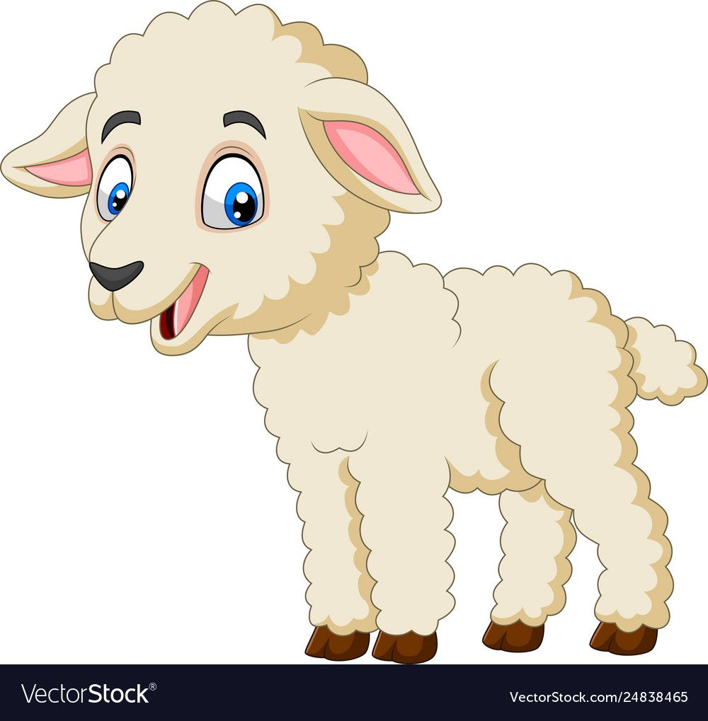 Vector Illustration Of Cartoon Happy Lamb Isolated On White Background Download A Free Preview Or High Quality Cartoon Lamb Cartoon Clip Art Cartoon Butterfly