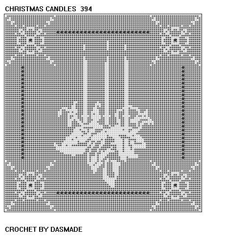 Christmas candle filet crochet doily afghan pattern 394 ...