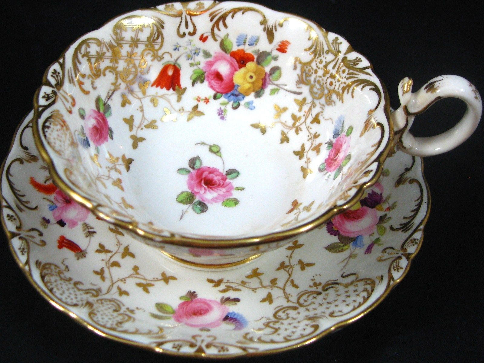 1830 coalport ornate hp floral gold antique tea cup and saucer porzellan und keramik. Black Bedroom Furniture Sets. Home Design Ideas