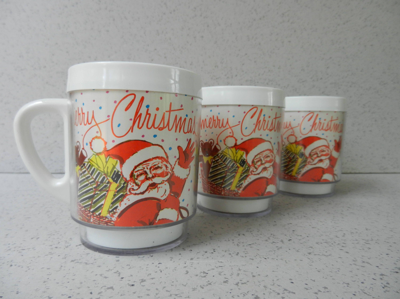 Set of 3 Vintage Plastic Christmas Mugs, Santa Mugs, Stacking ...