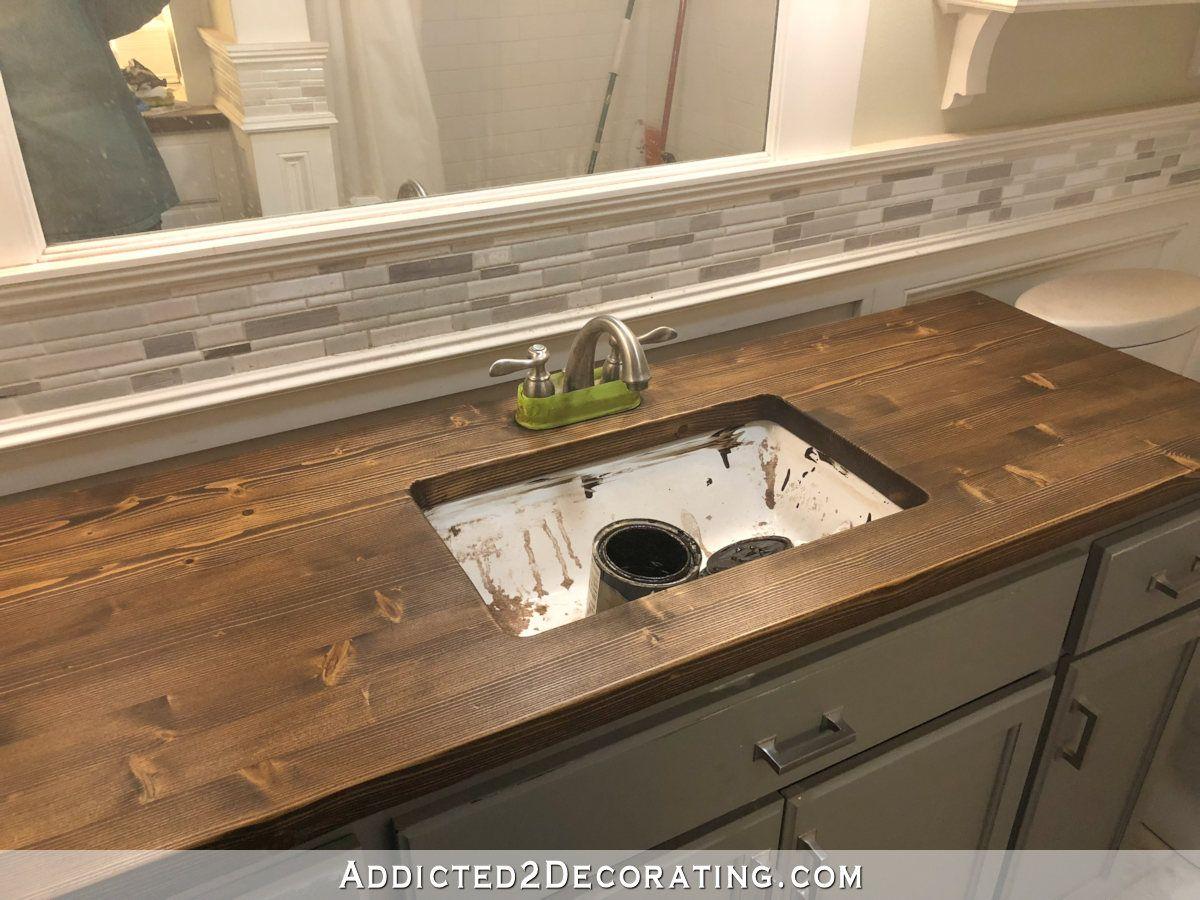 How To Refinish Pine Wood Countertops Wood Bathroom Wood Countertops Bathroom Countertops