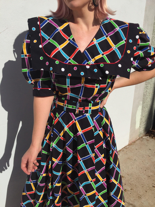 Vintage Choon California Funky Dress Black Rainbow Striped Retro Shawl Swing Funky Dresses All Black Dresses Dresses [ 3000 x 2250 Pixel ]