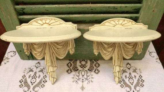 VINTAGE SyrocoWood Shabby Shelves  Set of Two by BabylonSisters, $45.00