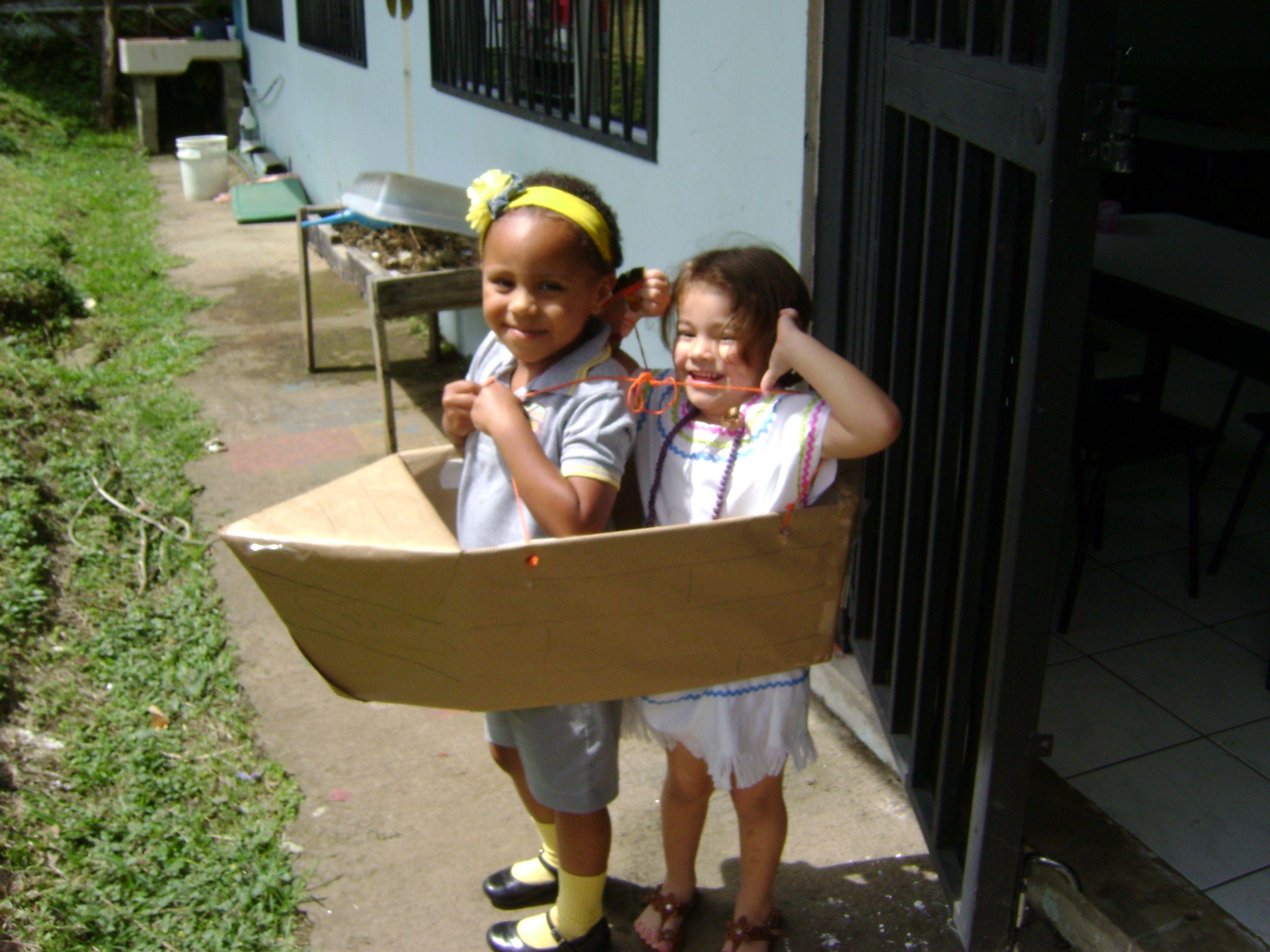 Boat made with a cardboard box kids role play cardboard