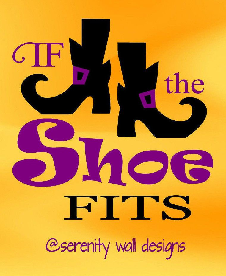 If the shoe fits vinyl wall decal sticker word art witch halloween october 31 indoorvinyl